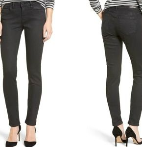Gold Adriana Coated Mid Rise, Super Skinny Jeans